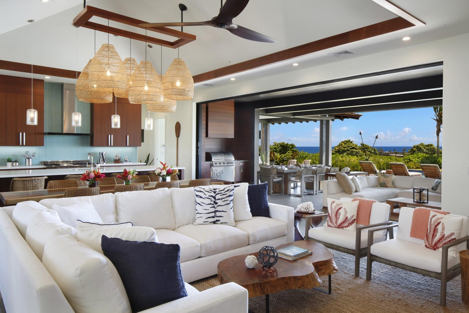 Living room / outdoor living space with ocean views