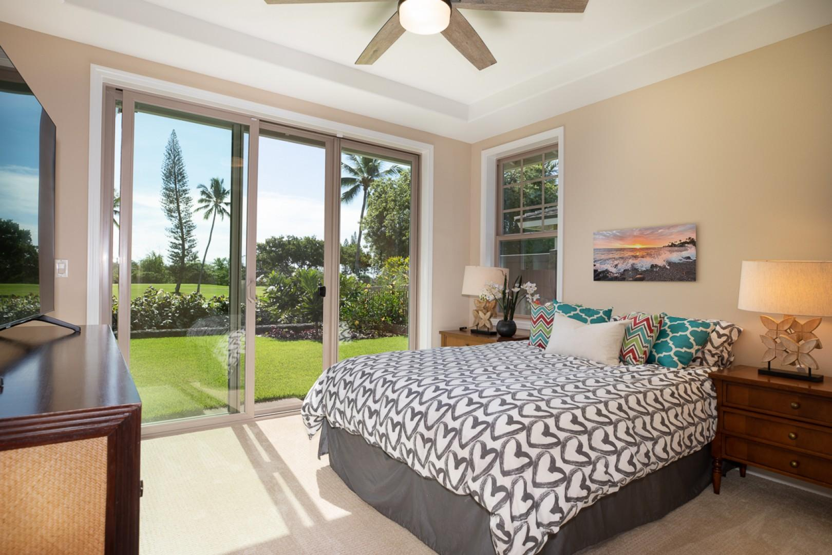 Second Bedroom with queen bed and golf course views