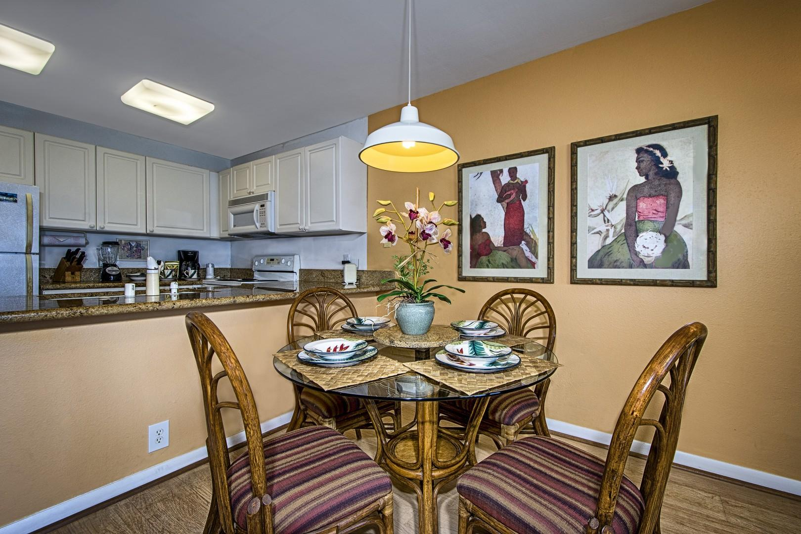 Indoor dining steps from the fully equipped kitchen