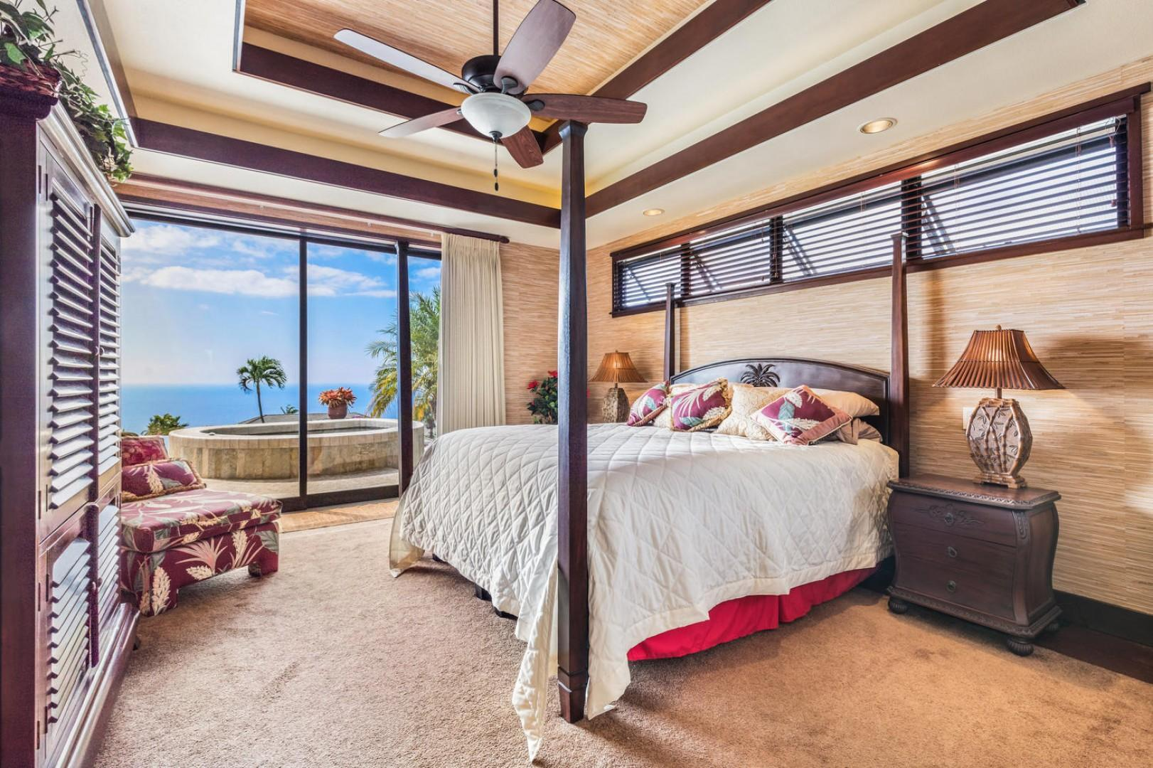Master bedroom with A/C, Lanai Access, and King bed
