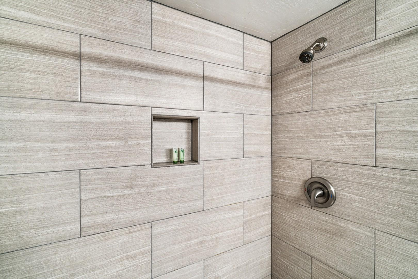 Master ensuite tiled shower