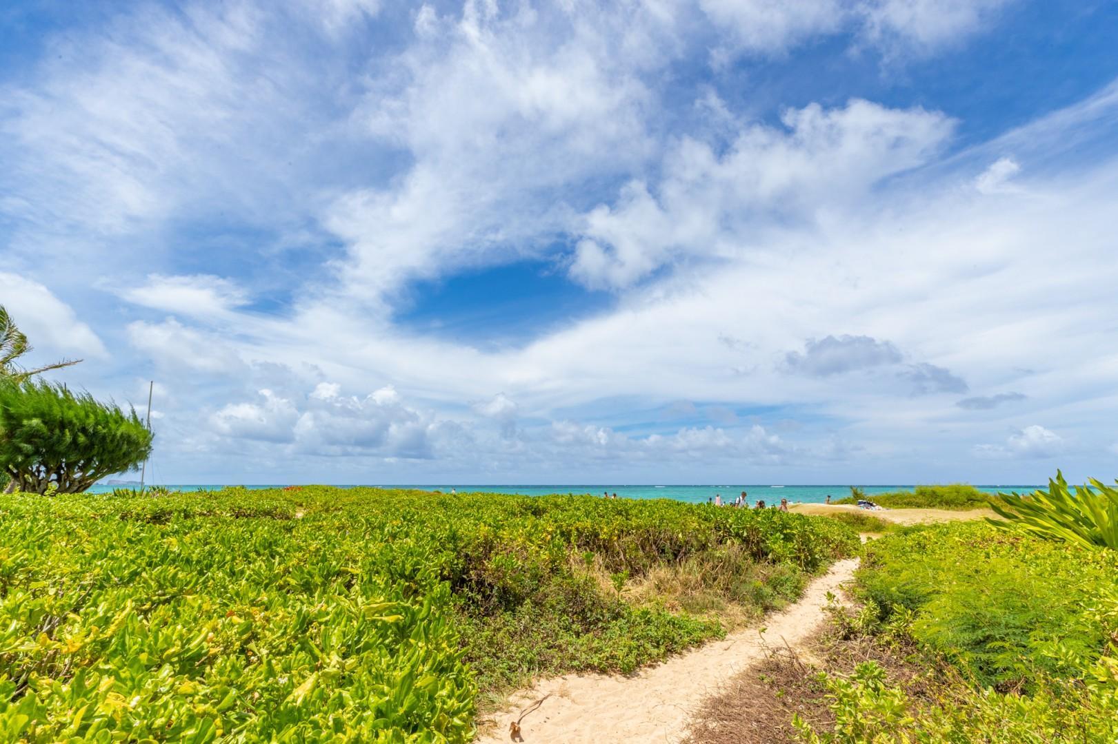 Through the Naupaka hedge to the Lanikai Beach