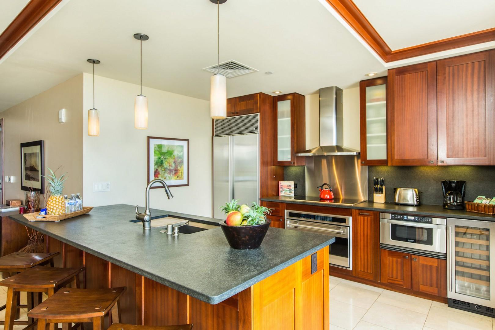 Kitchen features mahogany cabinets, granite counters, Sub-Zero, Wolf, Sharp appliances