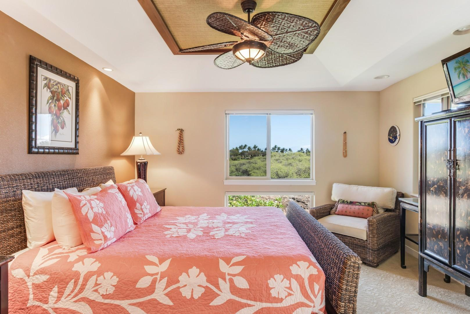 Master Bedroom w/ TV & Ensuite Bath, Looks Over Historical Preserve & Partial Ocean View