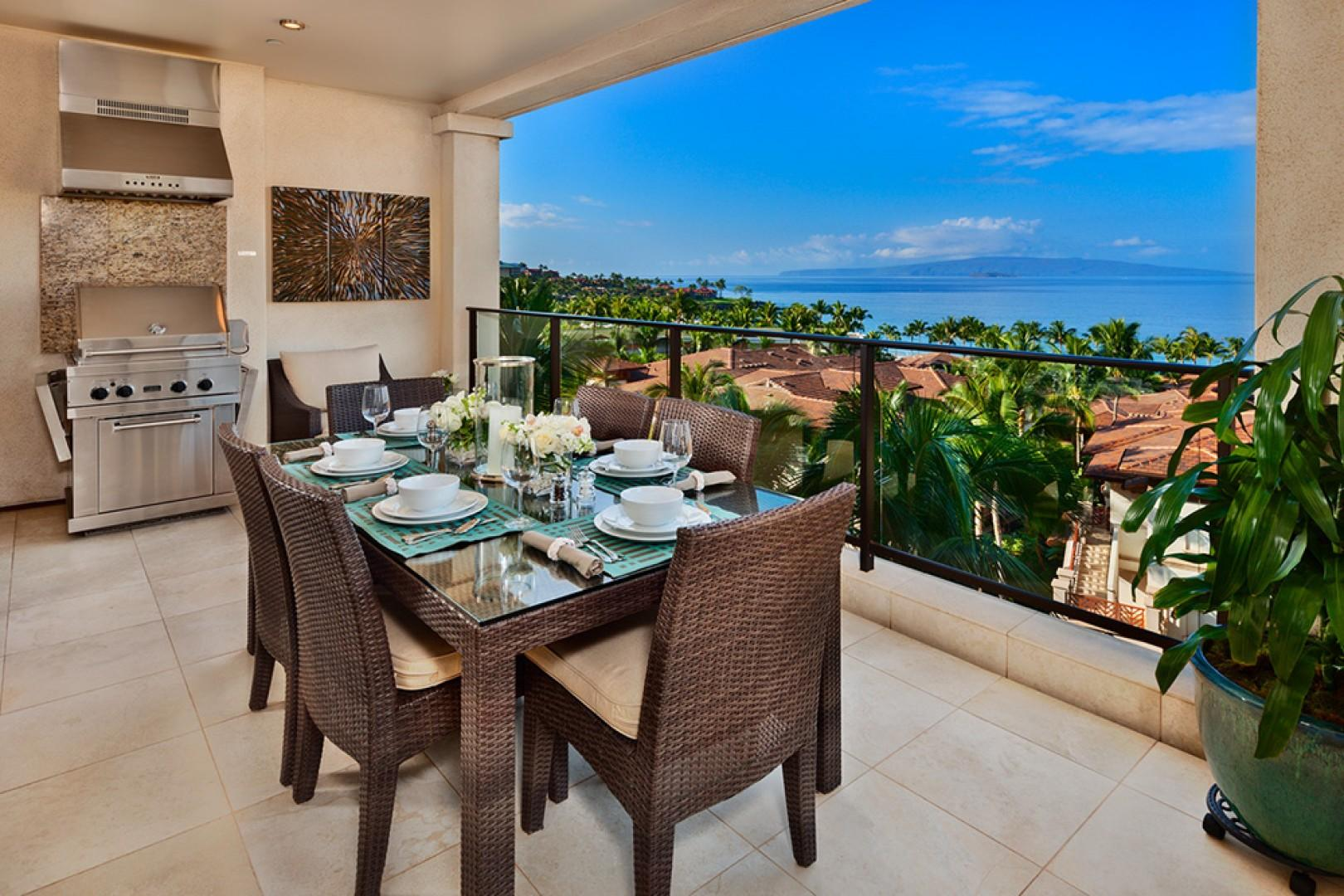 Ocean View Dining Terrace for 6 with BBQ - Panoramic Ocean Views from J405 Sea Breeze Suite