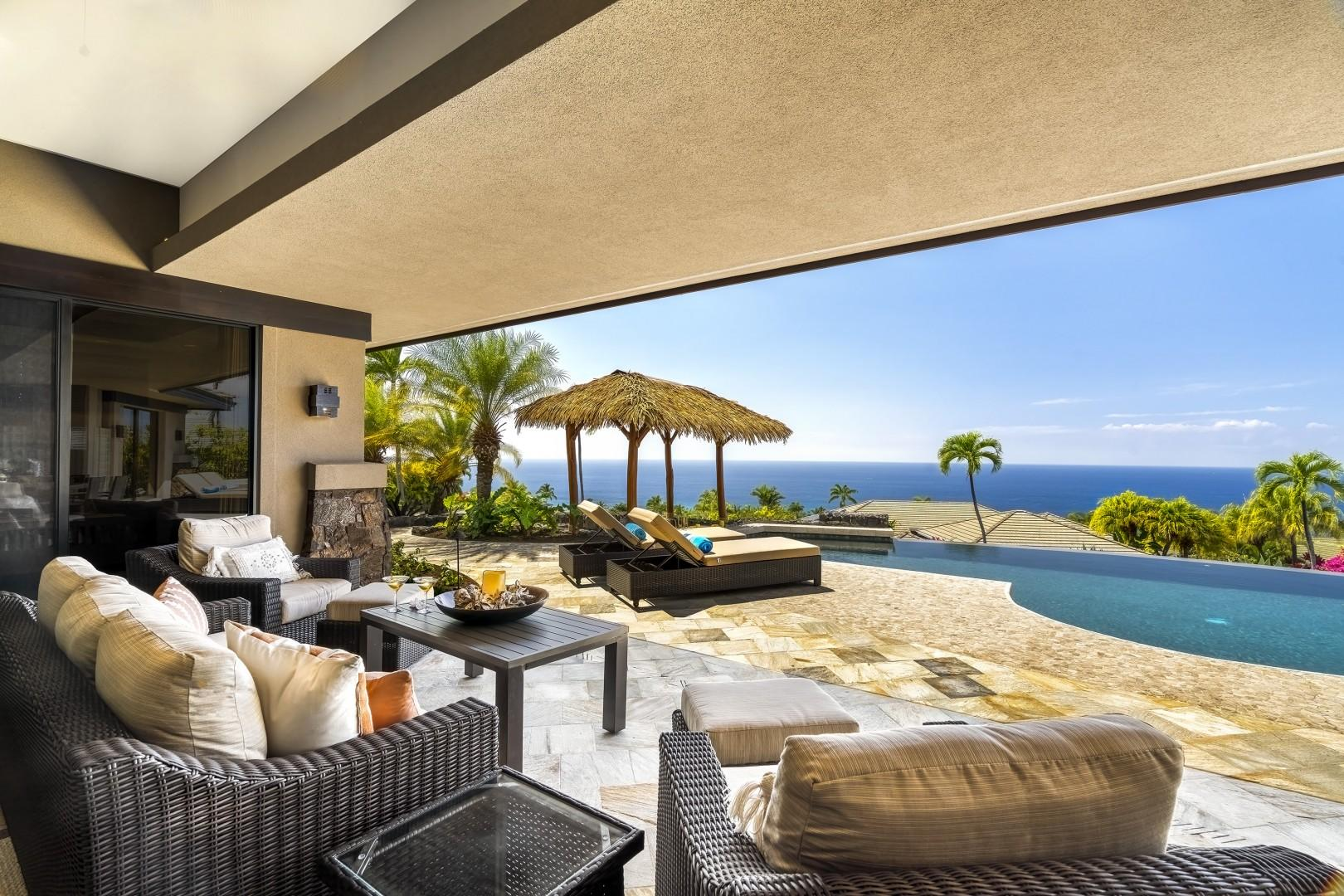 Looking back towards the view and custom palapa