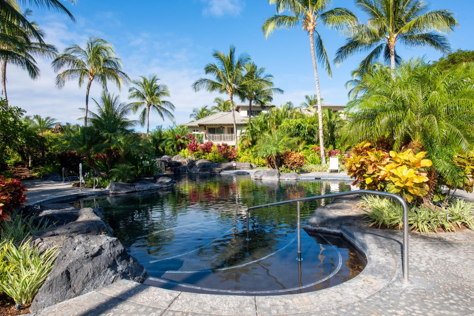 Lush Tropical Gardens Surround the Natural-Bottom Swimming Pool w/ Waterfall Cascade & Jacuzzi