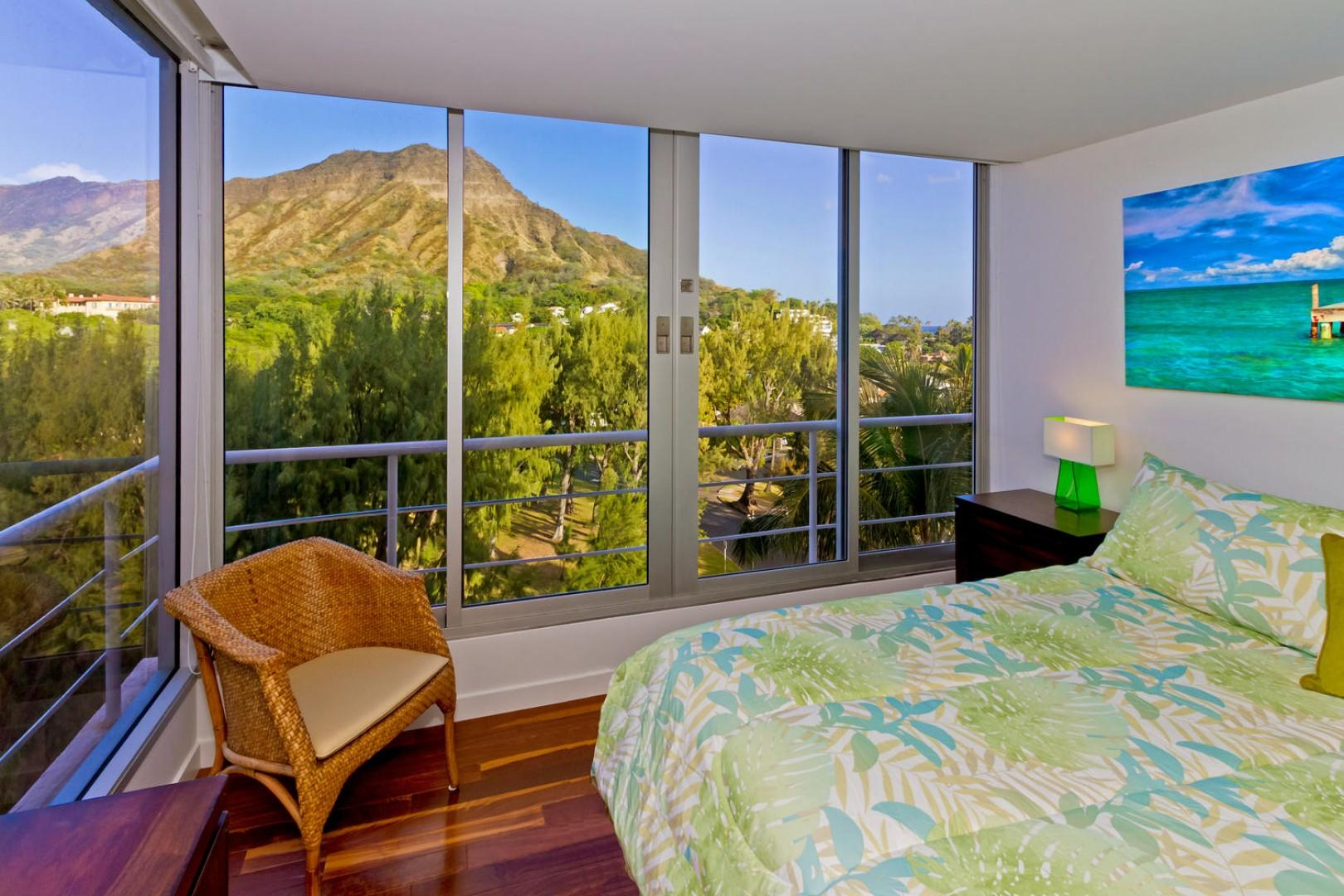 Master bedroom with Diamond Head views. Window AC unit is not pictured.