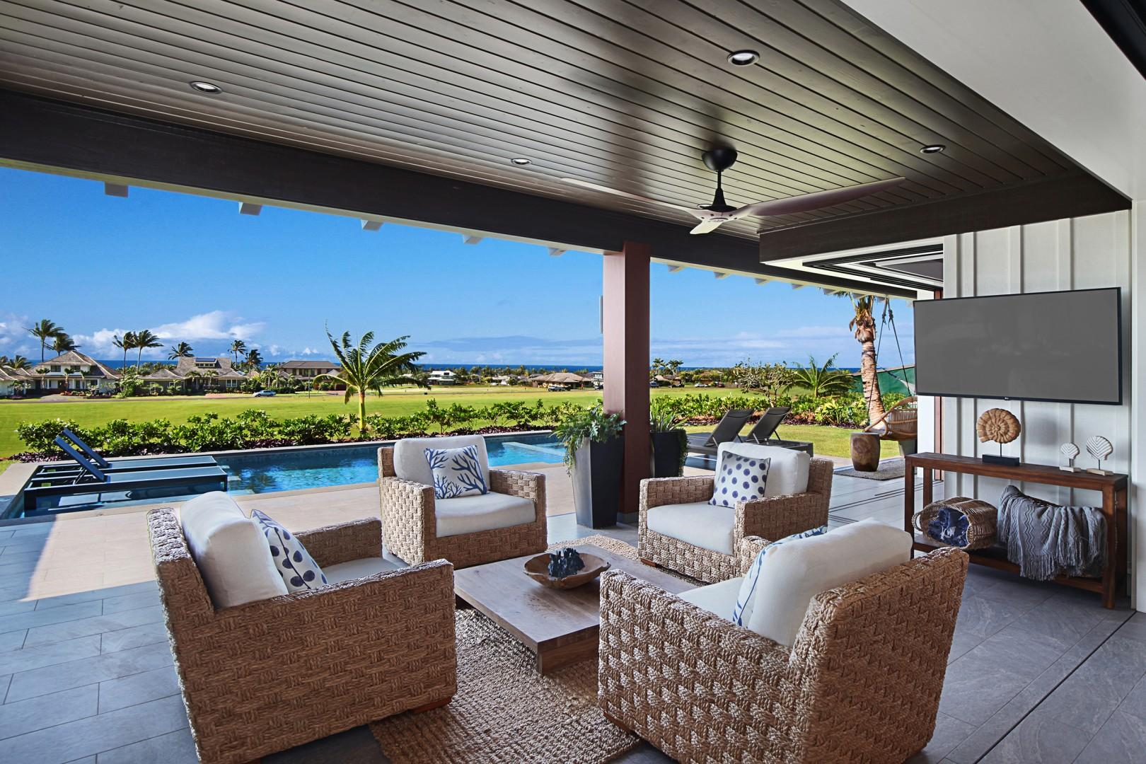 Outdoor living space with ocean views