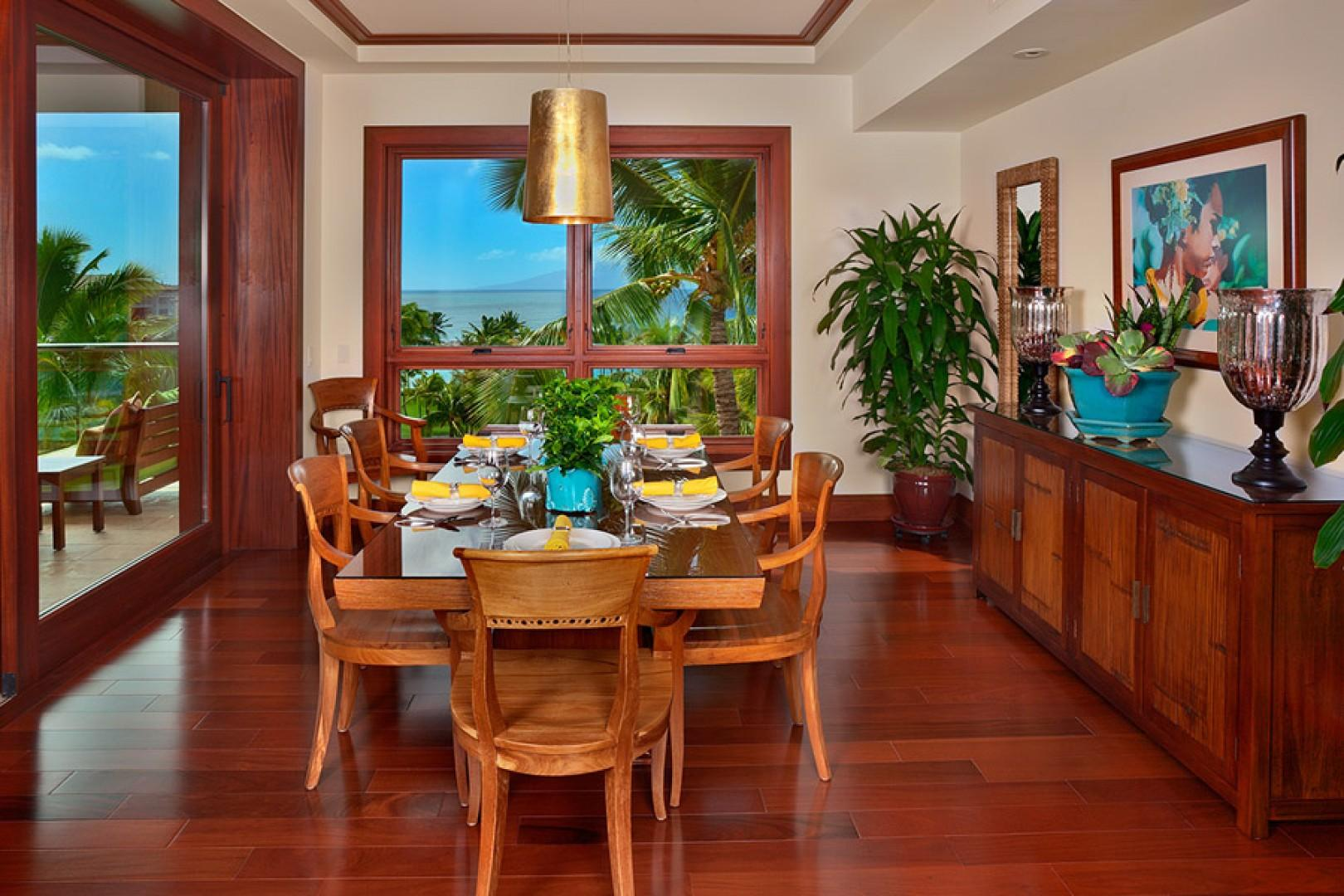 Sea Mist Villa 2403 - Interior Formal Dining Room with Panoramic Ocean and Resort Views. Can be closed off for private dining.