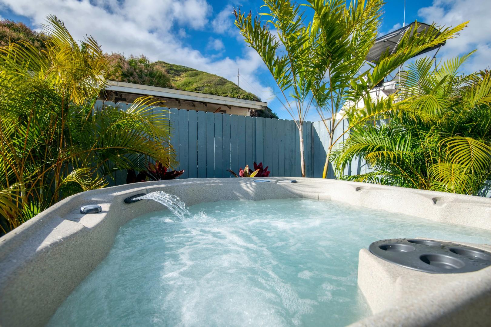 Rest and relax in the private hot tub in the back yard, brand new to the home!