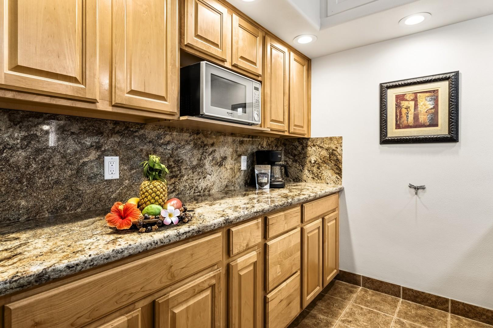 Granite counters with upgraded appliances