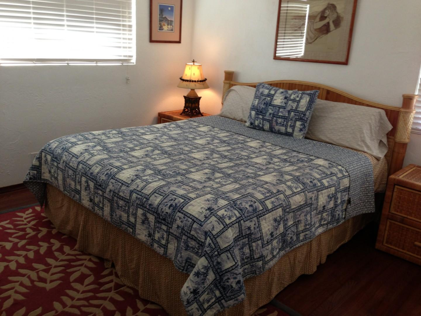 The second bedroom with a California king bed.