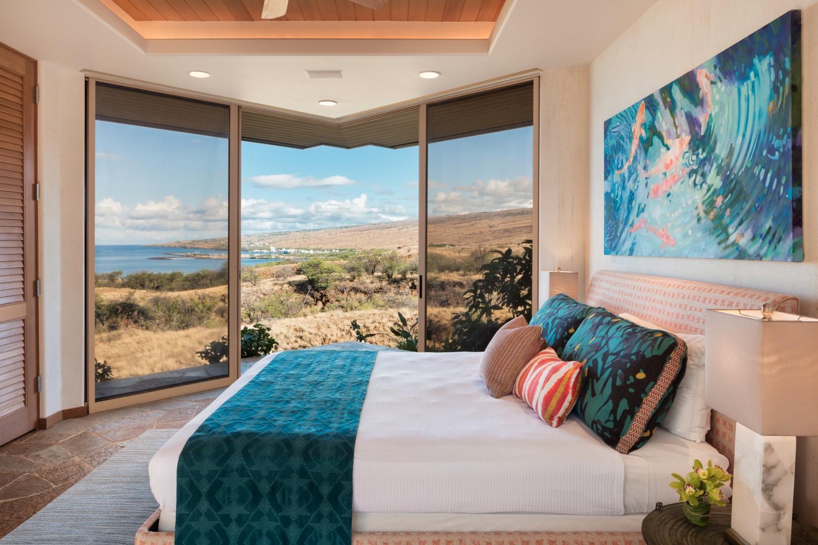 Third bedroom with king bed, sliding glass doors, ocean views, flat-screen TV, and en suite bath.