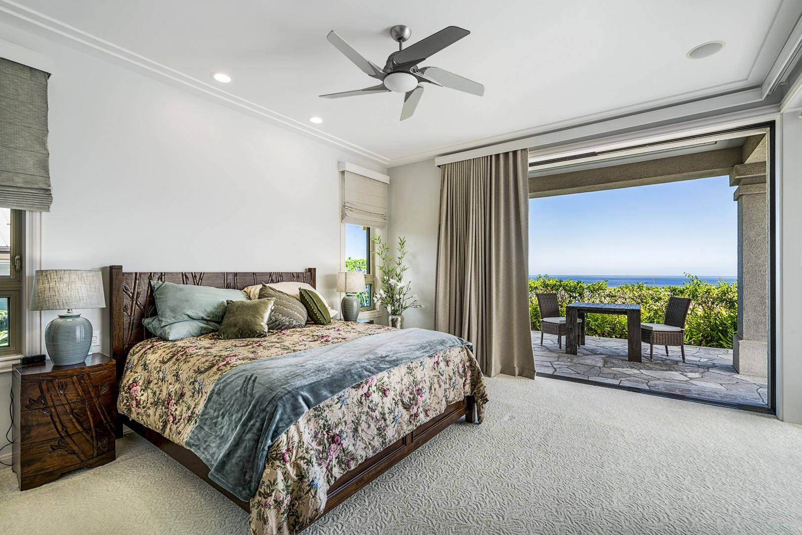 Master bedroom with King sized bed, attached ensuite, and phenomenal views!