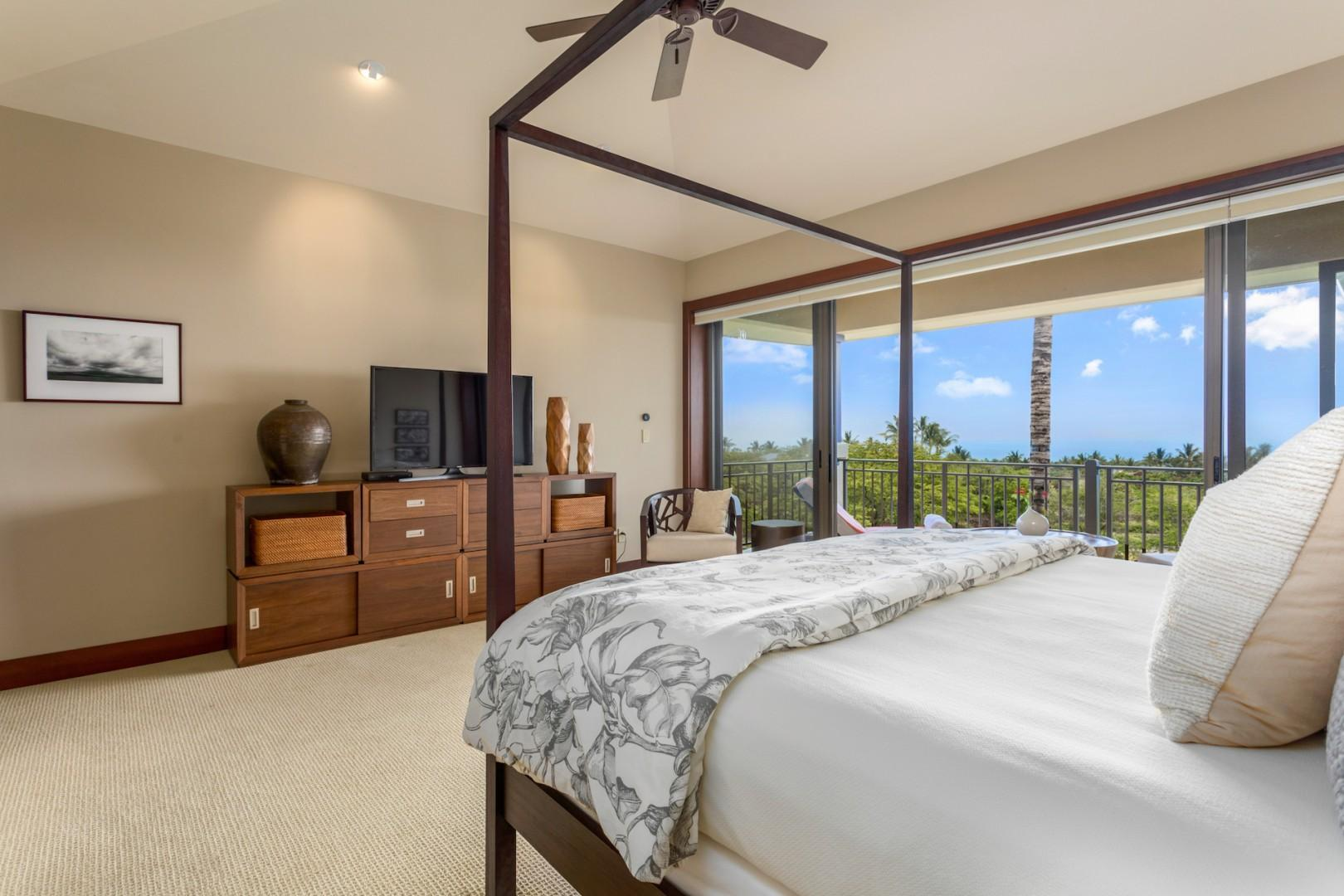 Blue skies and ocean views from the decadent king-sized master bed.