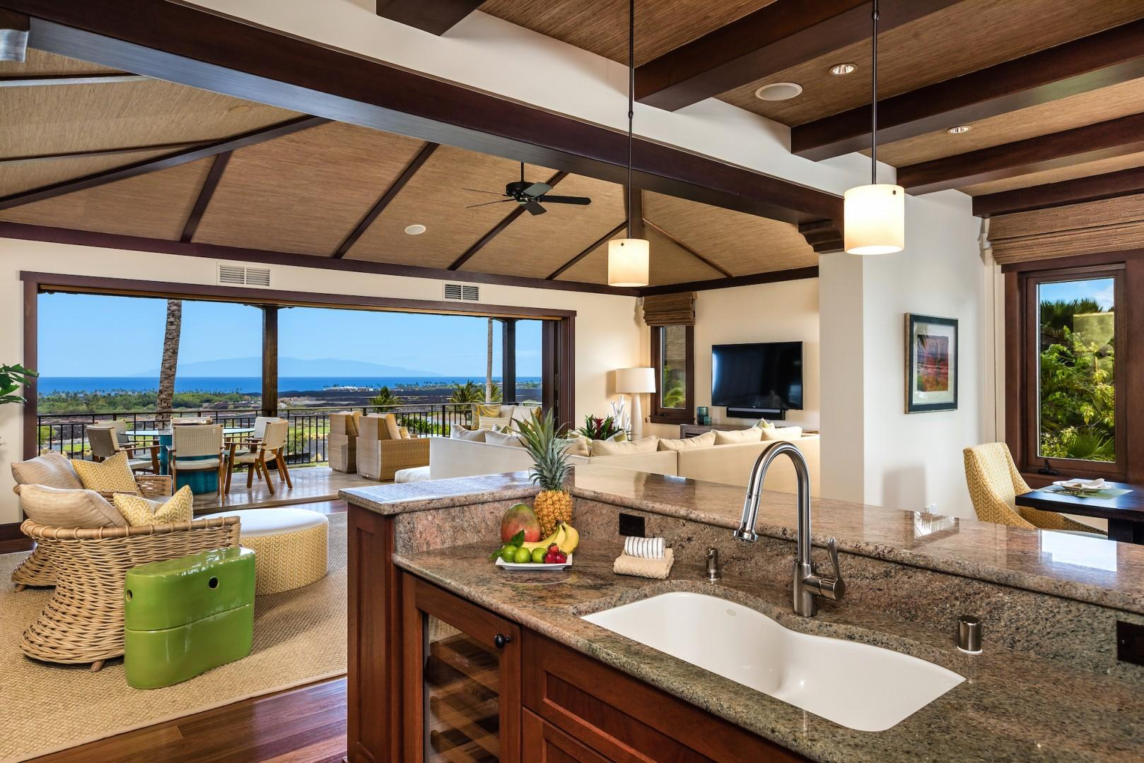 This modern kitchen is a chef's dream. Fully stocked with ocean views.