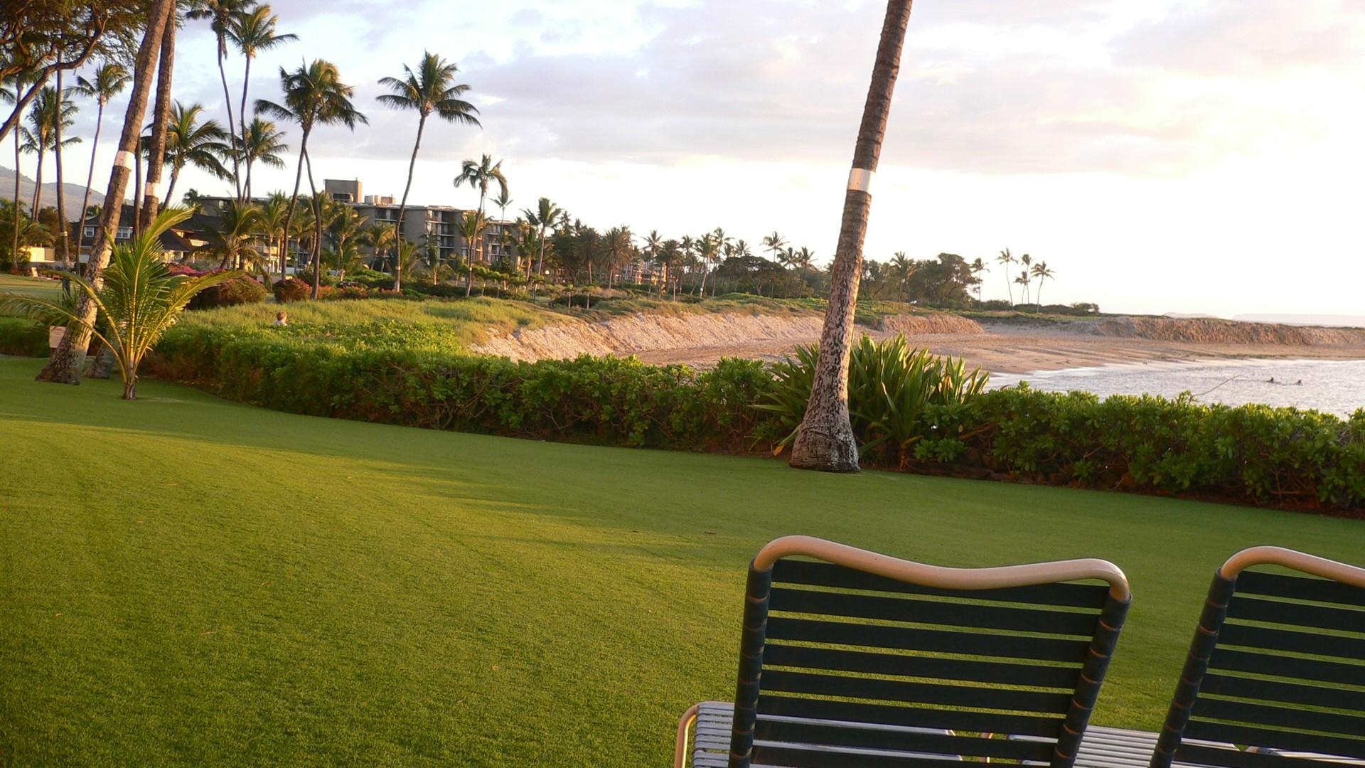 View of the beach from the manicured grounds.