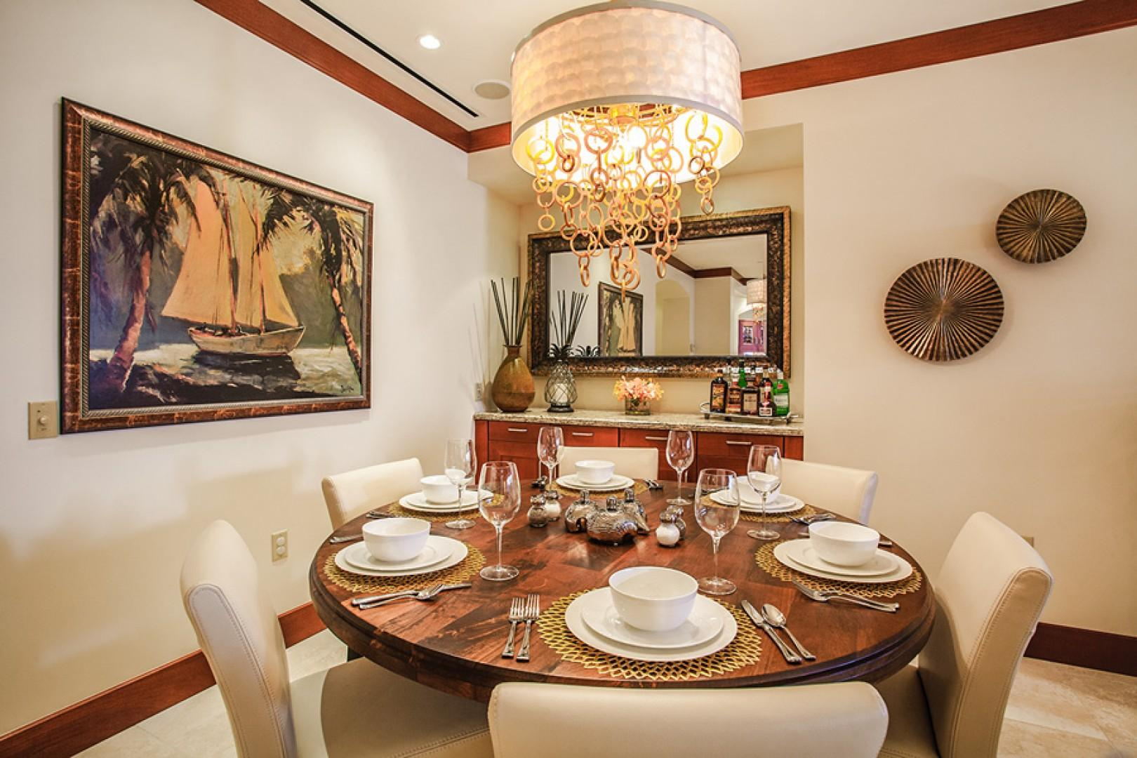 Enjoy elegant meals with bone china and crystal glassware.