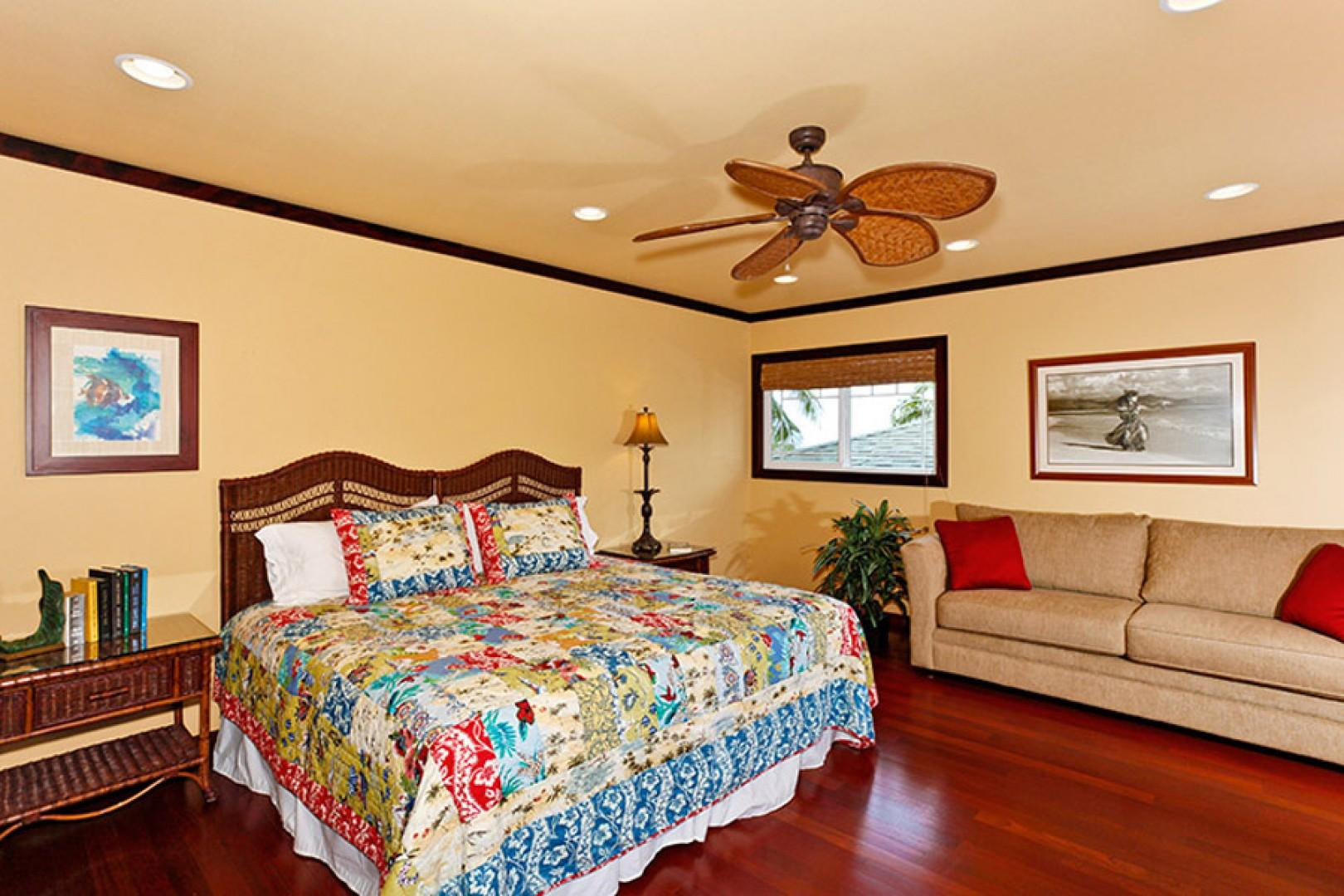 Upstairs master suite one with king bed.