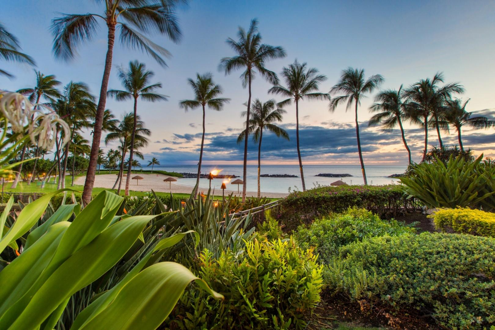Beautiful ocean, beach and sunset views daily from your lanai and nearby garden areas