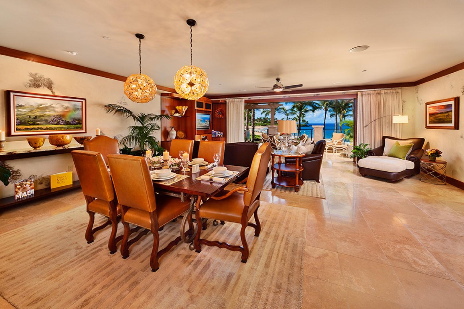 The Beautiful Great Room of A201 Royal Ilima - Looking Towards Wailea Beach. Genuine Italian Plaster Walls, Live Plants, Custom Cabinetry, Down-Filled Furniture, Original Art, Pacific Rim and Tropical Artifacts, Gallery-Quality Decor