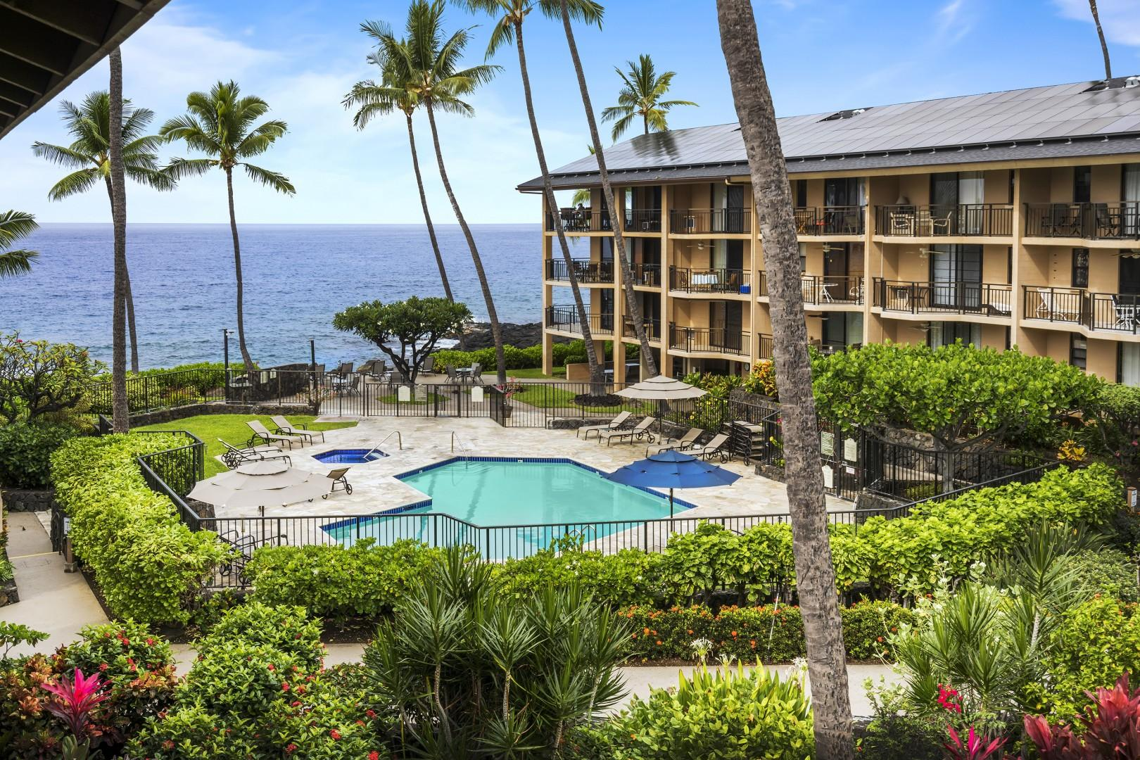 View overlooking the pool and spa from the Lanai at Kona Makai 2303