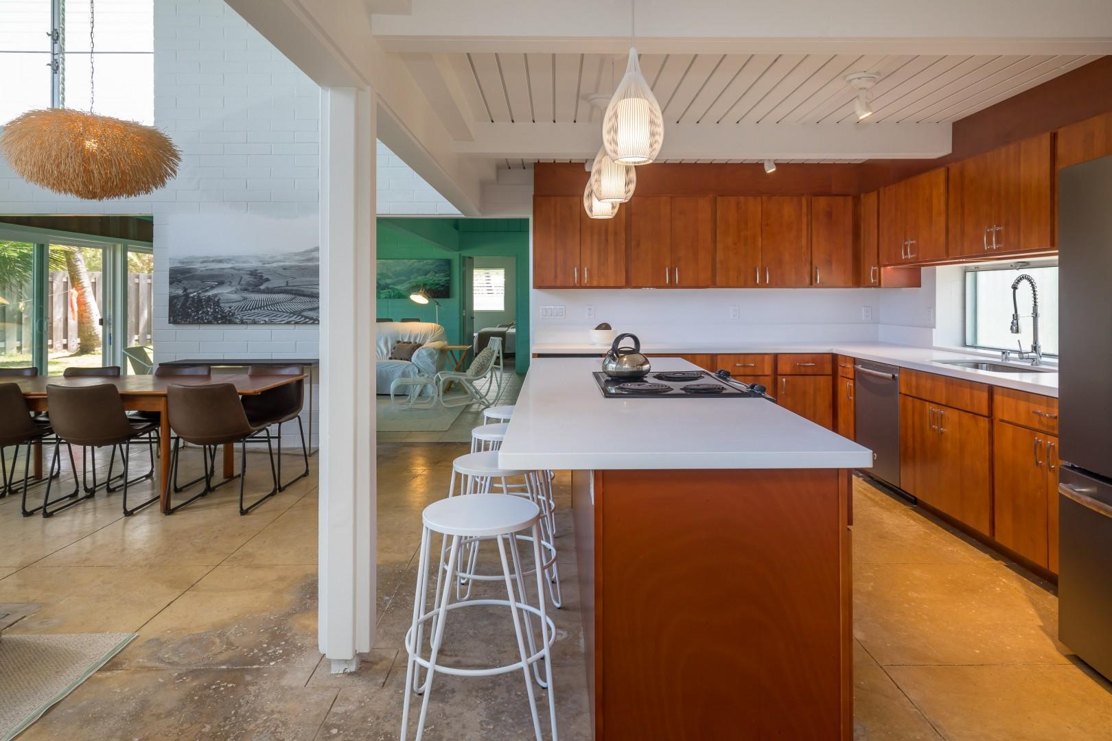 Kitchen bar adjacent to living room