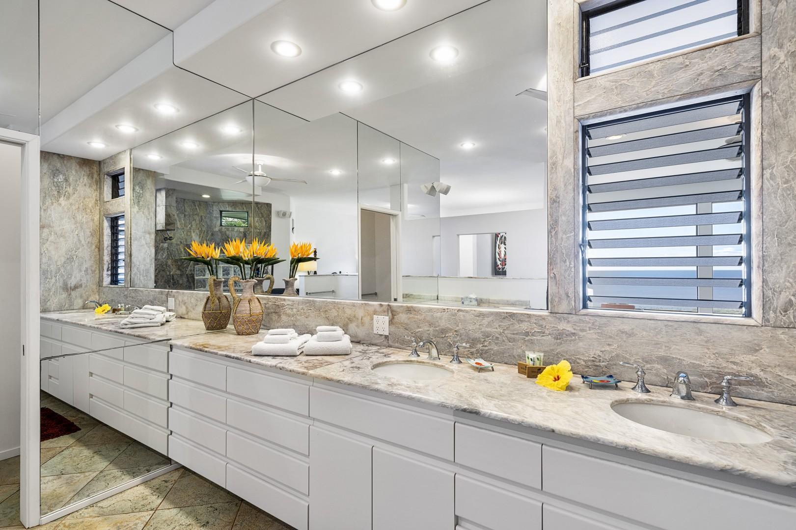 Large Master bathroom with dual vanities