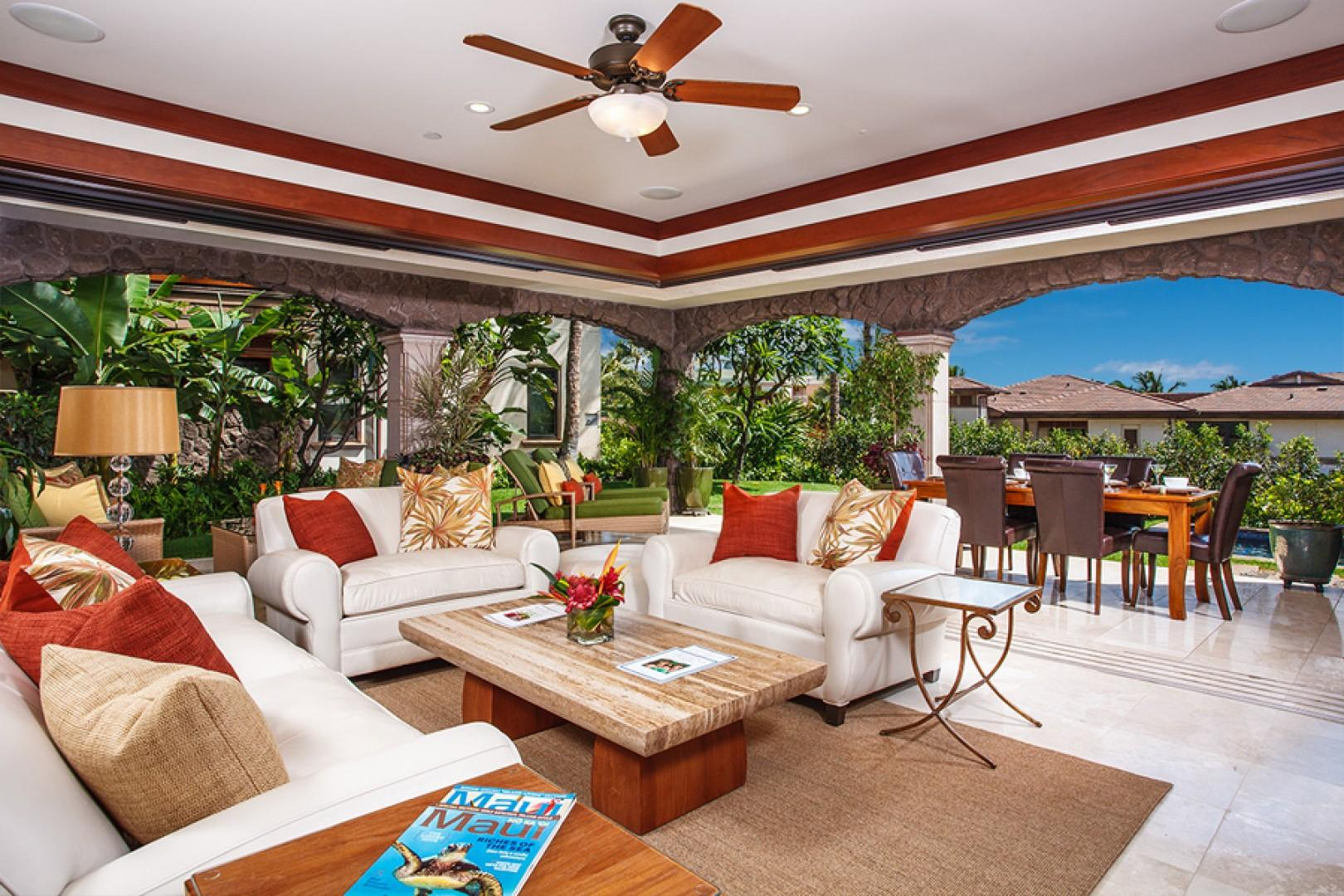 True indoor/outdoor living in more than 3,000 square feet, plus covered lanai, plunge pool, lawn, and grotto shower.