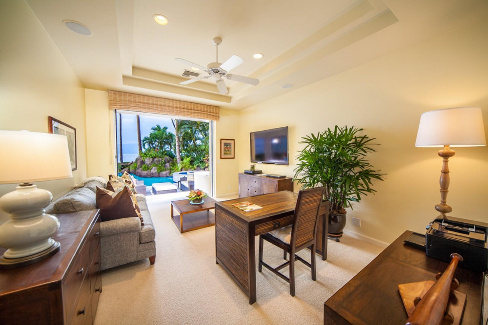 Opal Seas At Baby Beach - Poolside Office and Den with Extra Large Flat Panel HD TV/DVD, Office Supply, Sofa