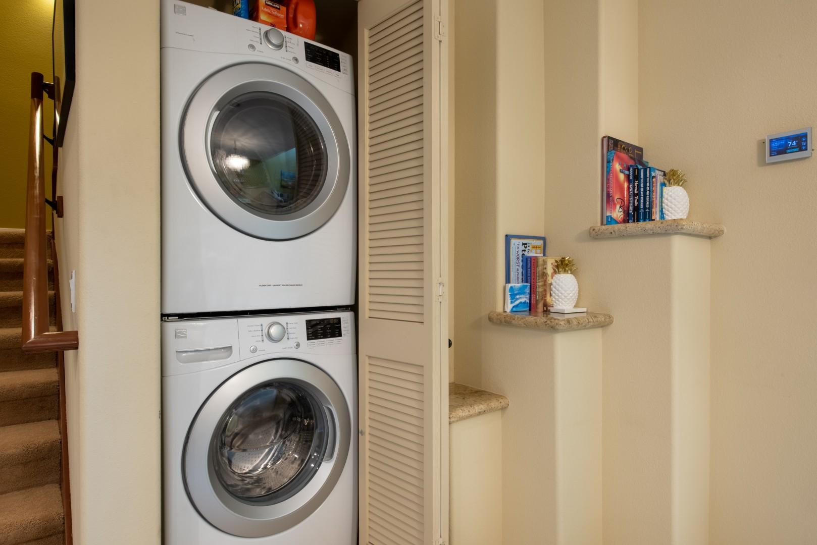 Stacked Washer Dryer In Unit for Guest's Convenience