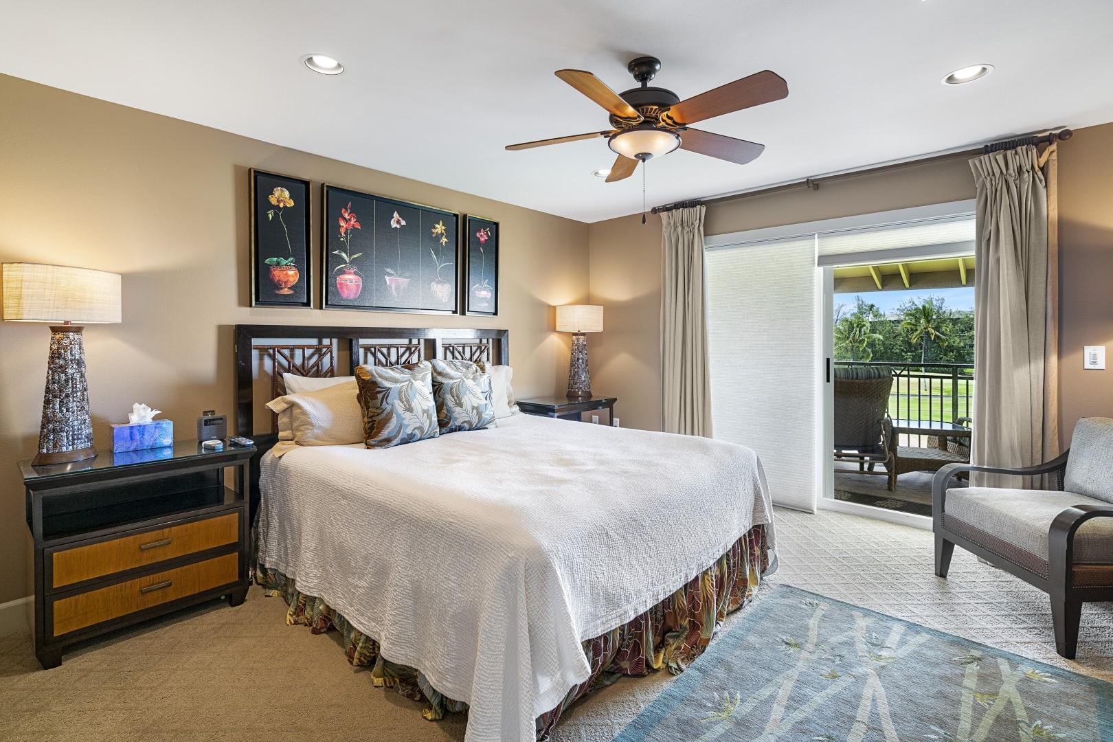 Master bedroom featuring Cable TV, Central A/C and private Lanai!