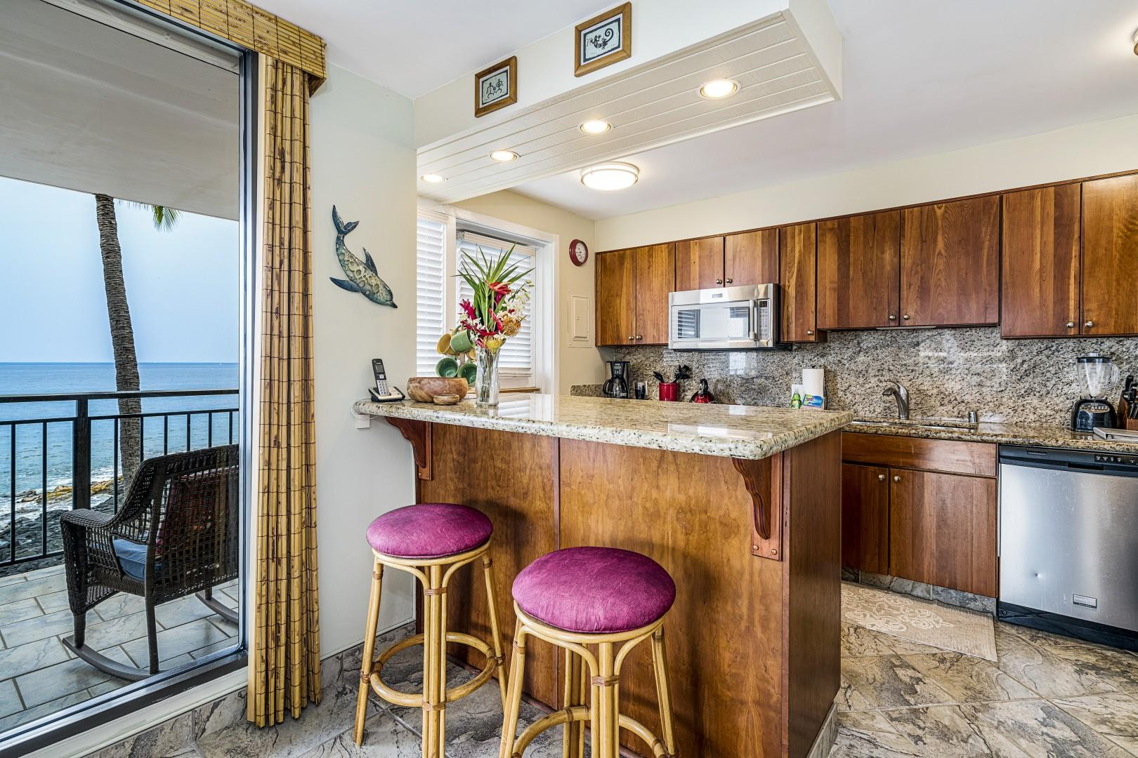 Eat-in kitchen with ocean views to the Horizon!
