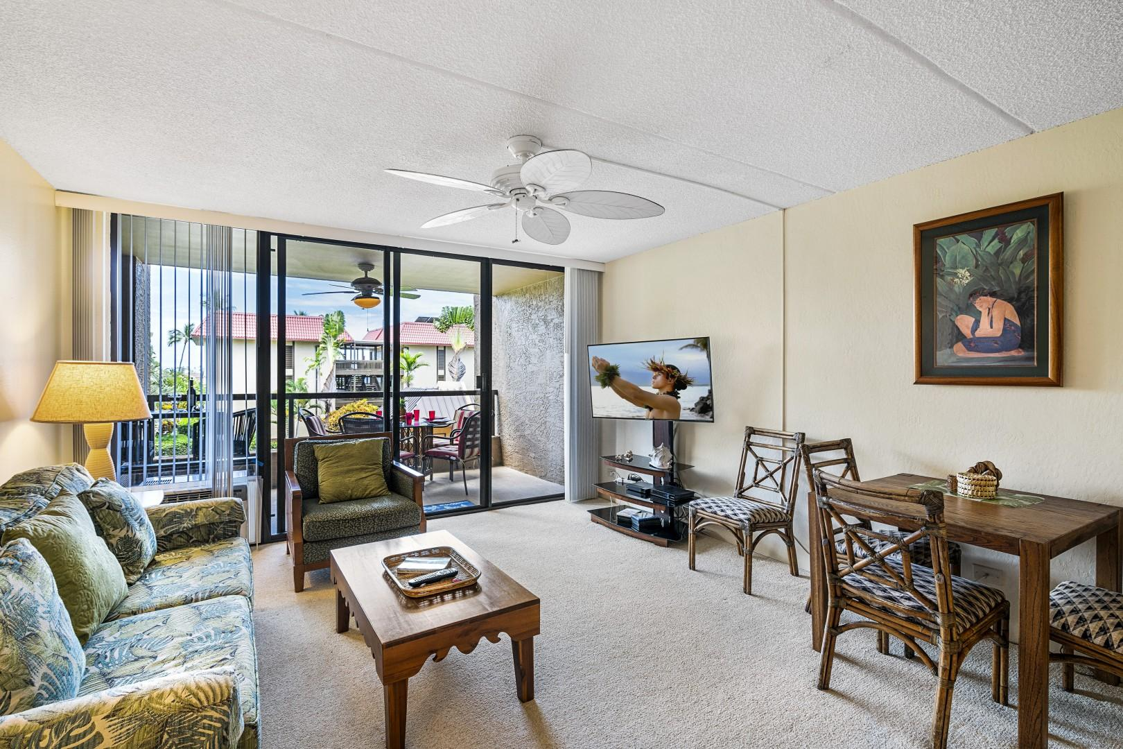 Lanai access from the air conditioned living room