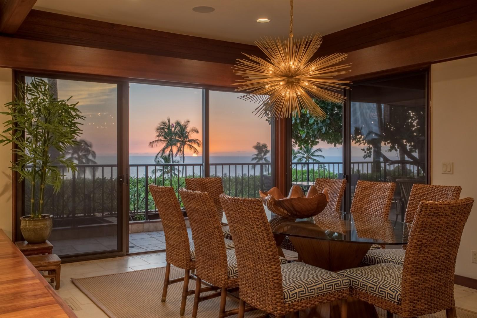 Sunset views over the Pacific from dining area and almost every room in the house.
