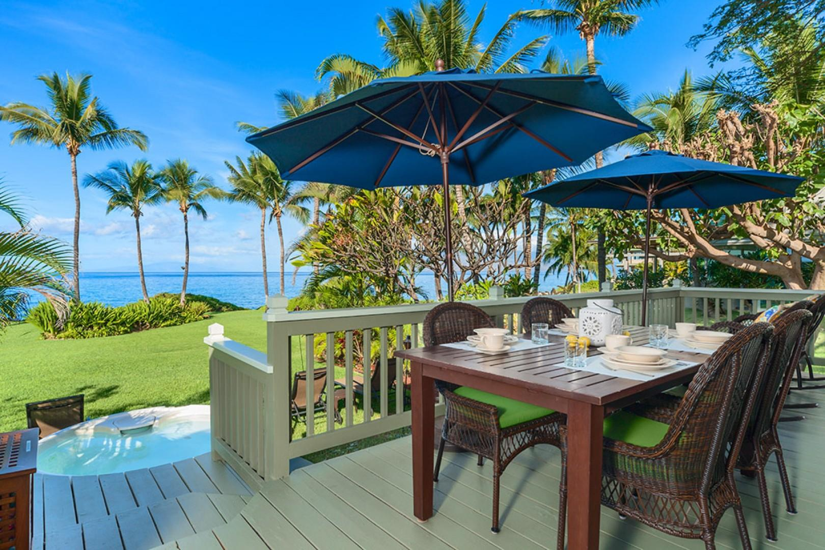 Wailea Sunset Bungalow - Ocean Front Patio with BBQ, Outdoor Dining & Lounging and Hot Tub. We also supply beach toys, tiki torches, and firewood for the beachfront campfire pit