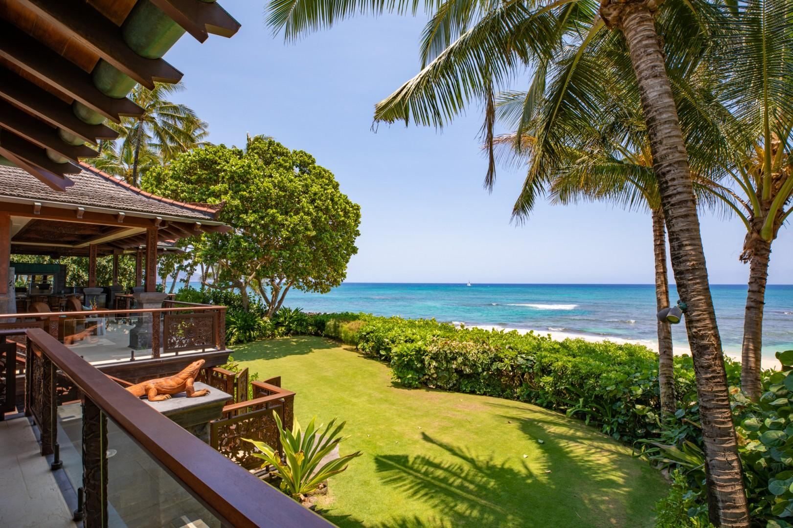Private oceanfront lawn
