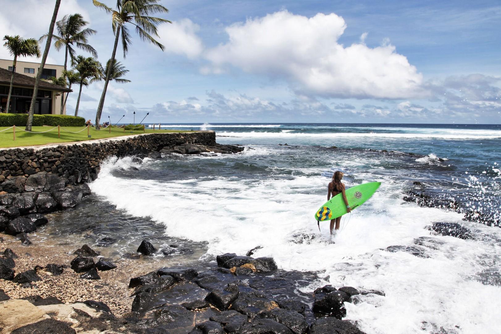 Prince Kuhio's (PK's) surf break fronting the beach house restaurant