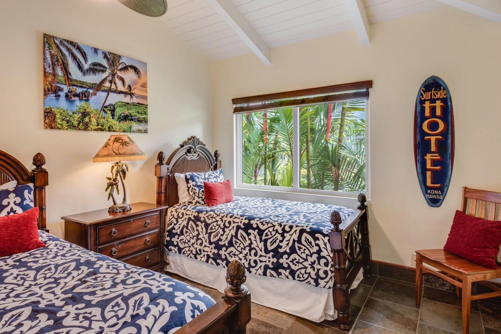 Hale Moana guest bedroom featuring 2 Twin beds