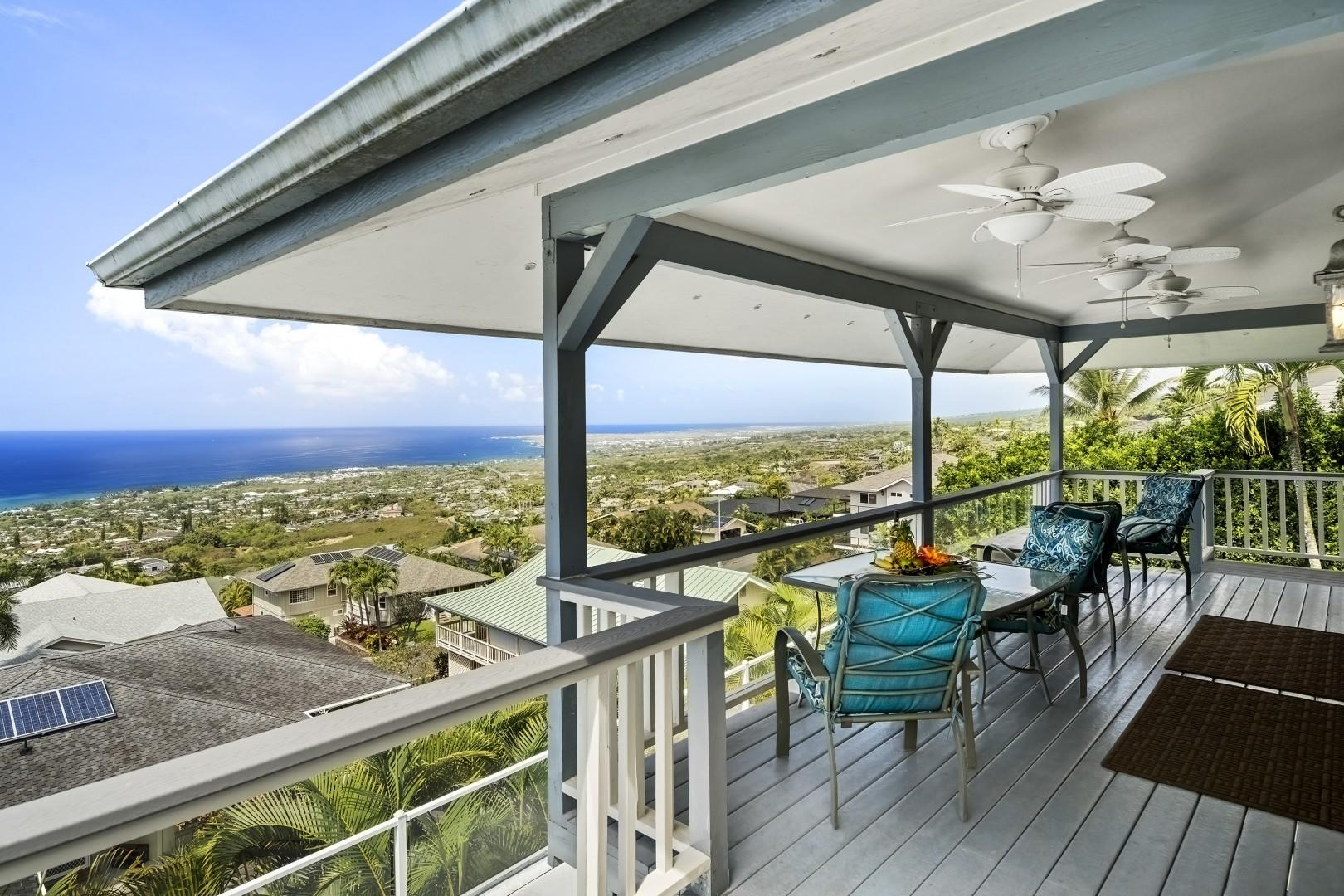 Panoramic views from the generous upstairs Lanai