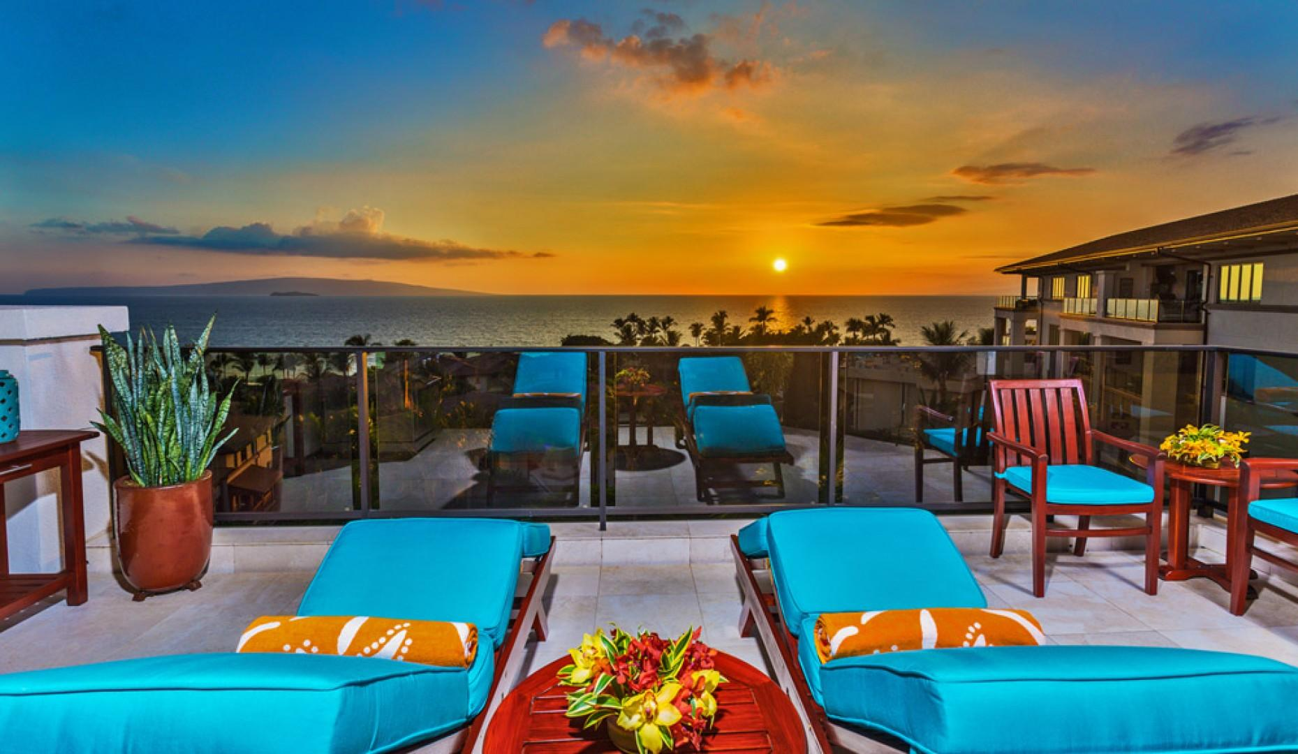 Stunning Sunset Views From K507 Wailea Seashore Suite Located on the TOP (5th Floor) of Wailea Beach Villas. The view is bigger and closer than we can show you via these photos. It's exceptionally impressive.