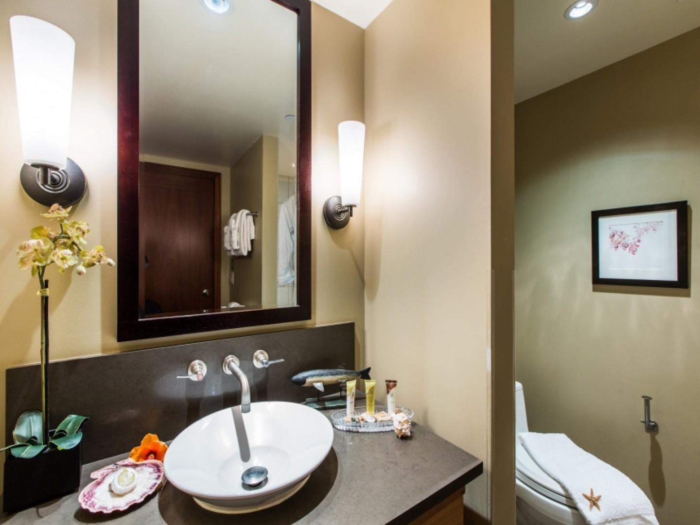 Second full bathroom has a shower/tub combo and is complimented with bathroom essentials