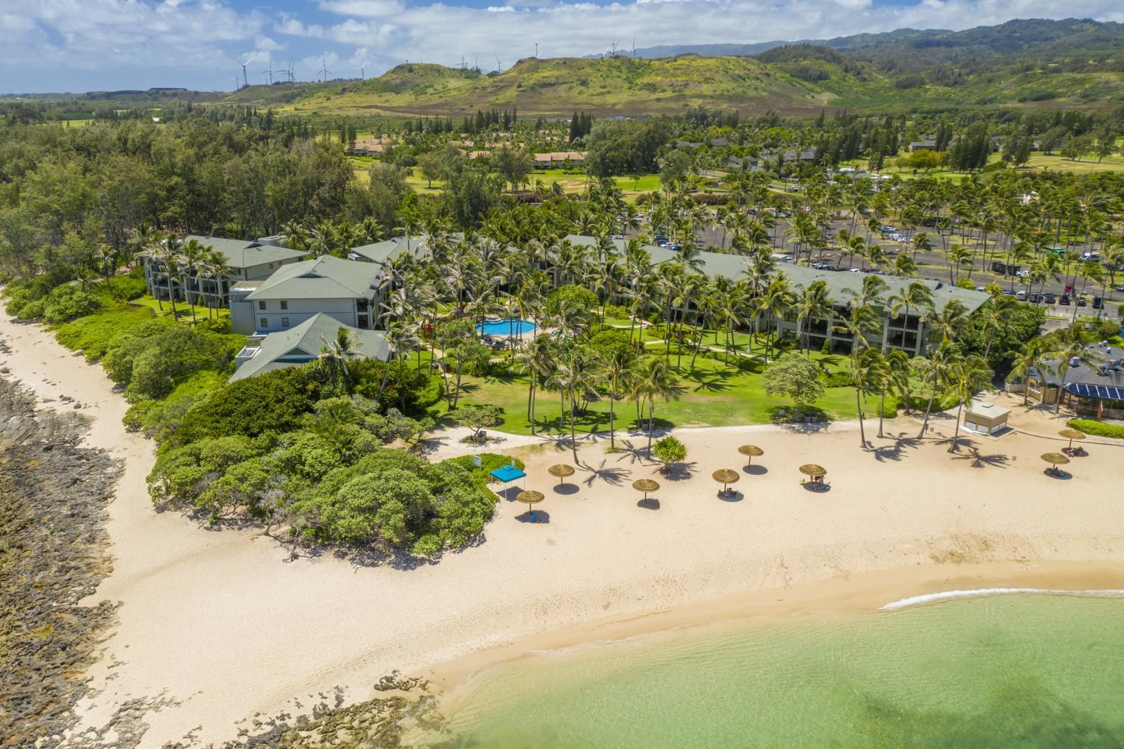 Sandy beach fronting the Villas