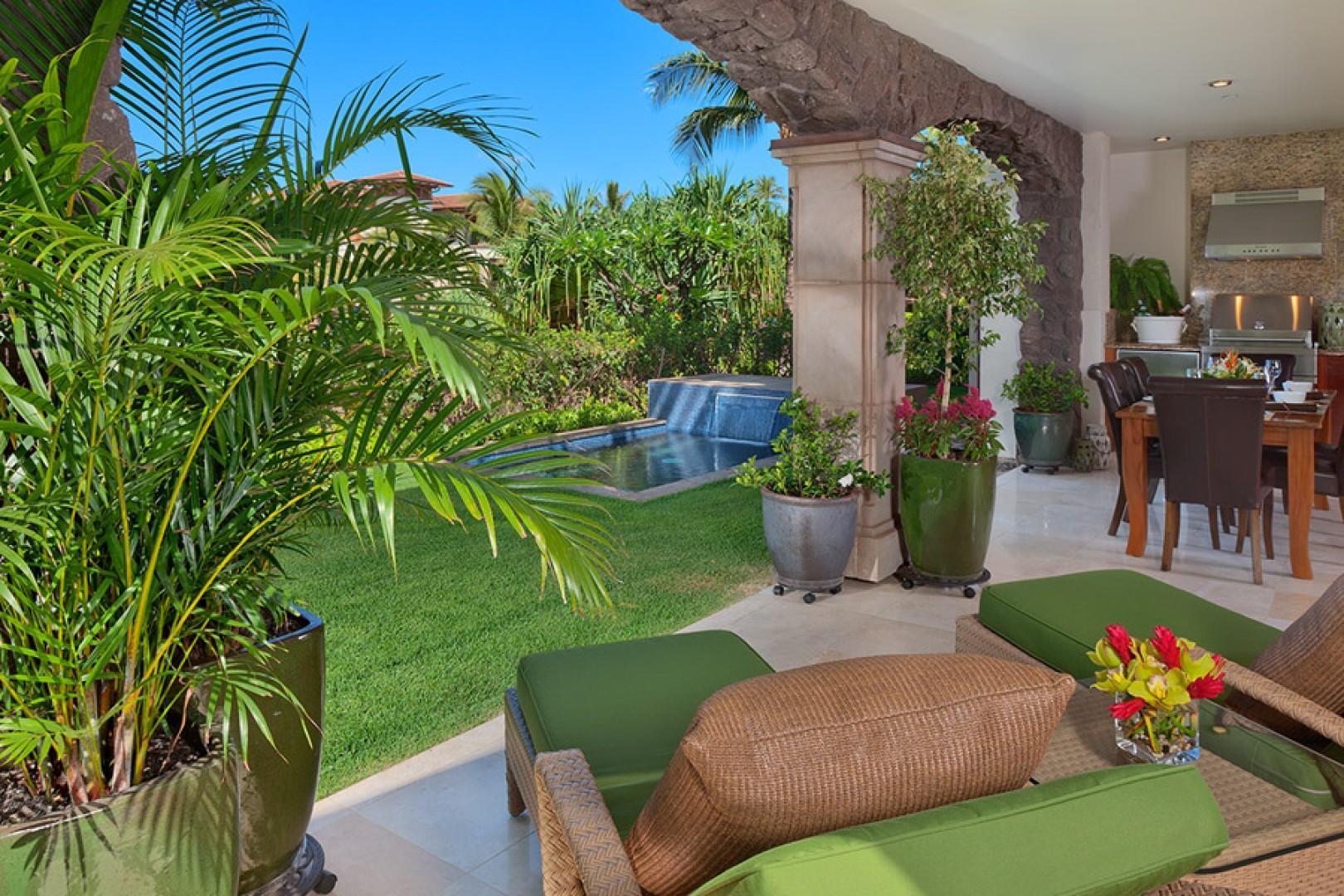 Tranquil gardens surrounding the villa.