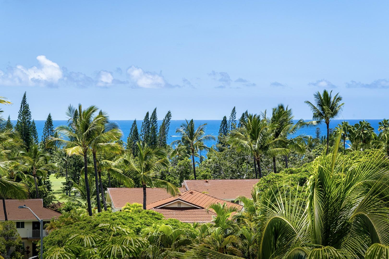 Lush tropical landscaping seen from the Upstairs Lanai!
