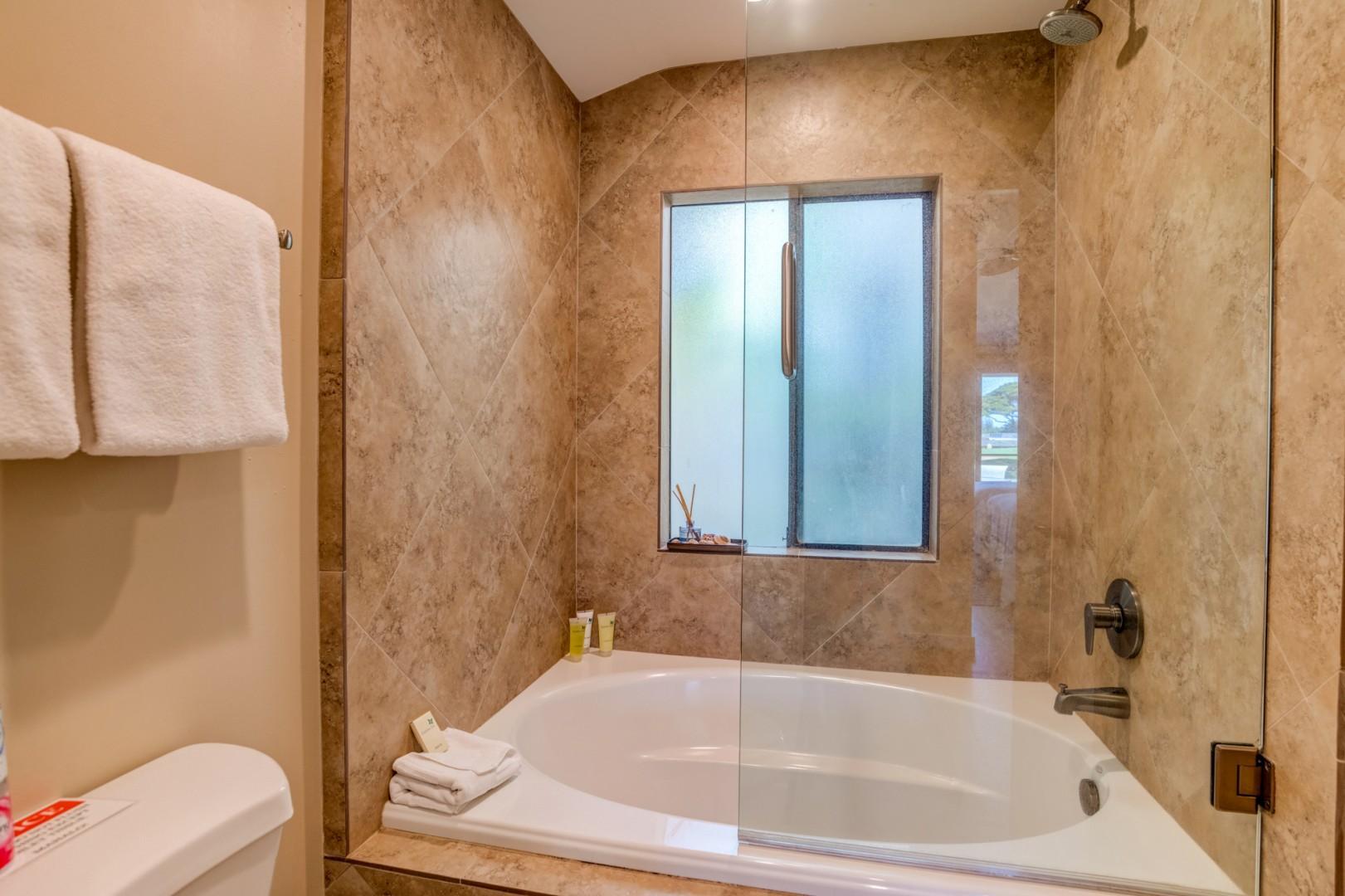 Enjoy a large soaking tub