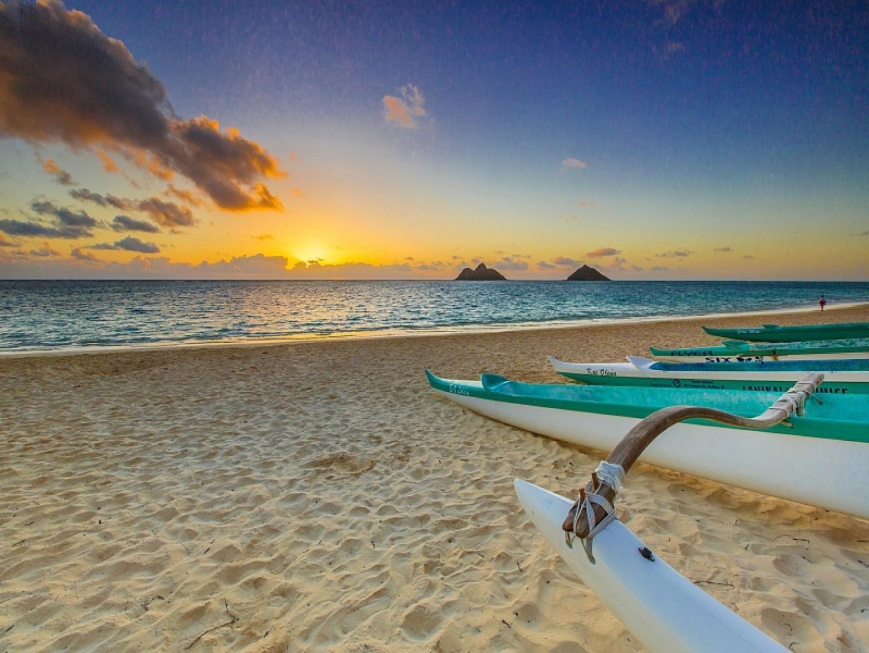 Sunrise at Lanikai Beach.