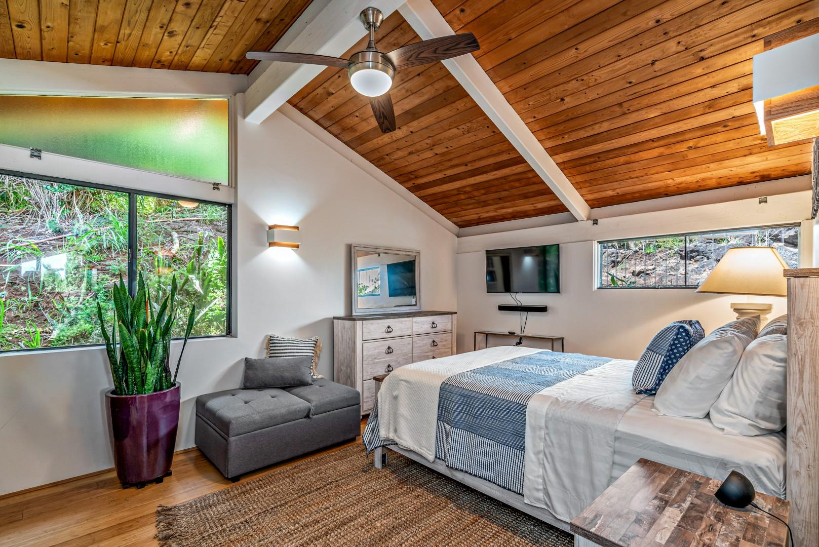 Guest Suite has a queen size bed and a chair that pulls out to a twin size bed.