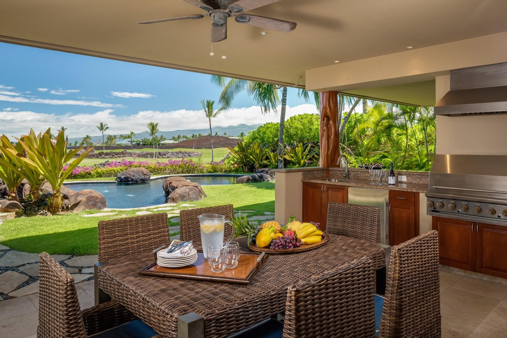 Main Lanai Off Living Room w/ Gas Grill, Wet Bar and Dining for Six